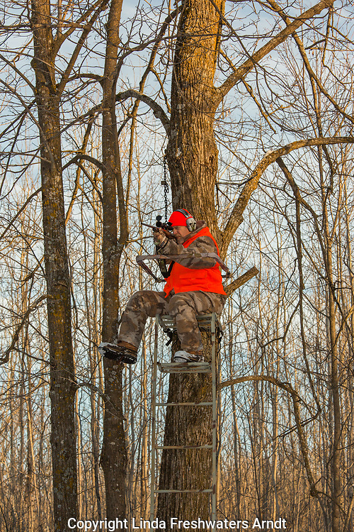 Wisconsin hunter taking aim with his Browning X-Bolt in 300 WSM caliber