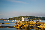 Fishing shack at sunrise in Stonington Harbor, Stonington, ME