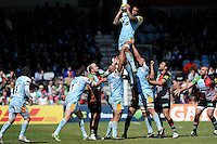 Courtney Lawes of Northampton Saints wins the lineout during the Aviva Premiership match between Harlequins and Northampton Saints at the Twickenham Stoop on Saturday 4th May 2013 (Photo by Rob Munro)