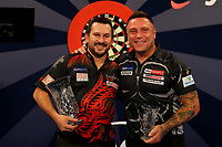 9th October 2021; Morningside Arena, Leicester, England; PDC BoyleSports Darts World Grand Prix finals ; Jonny Clayton is pictured with Gerwen Price after the final of the Boylesports World Grand Prix