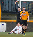Ayr Utd's Liam Buchanan is sent off after he receives a second yellow for diving.