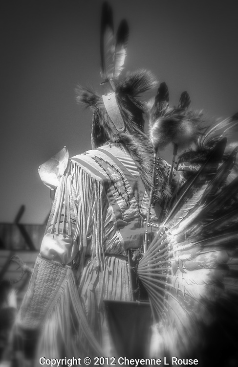 Lone Native American Fancy Dancer at Pow Wow in Wyoming