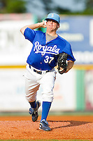 Starting pitcher Matt Ridings #37 of the Burlington Royals in action against the Danville Braves at Burlington Athletic Park on August 14, 2011 in Burlington, North Carolina.  The Braves defeated the Royals 10-2 in a game called by rain in the bottom of the 8th inning.   (Brian Westerholt / Four Seam Images)