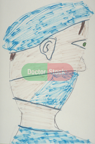child's drawing of profile of surgeon wearing cap and mask
