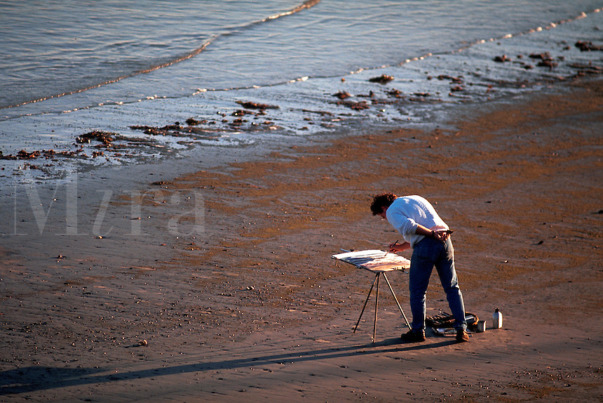 Man painting on beach.