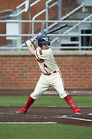 Chase Melnick (4) of the Dayton Flyers at bat against the Campbell Camels at Jim Perry Stadium on February 28, 2021 in Buies Creek, North Carolina. The Camels defeated the Flyers 11-2. (Brian Westerholt/Four Seam Images)