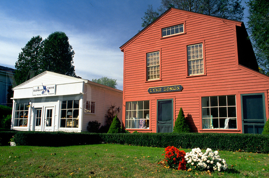The exterior of boutiques and shops representative of Old Lyme, Connecticut. Connecticut.