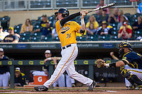 Tyler Peyton (38) of the Iowa Hawkeyes bats during a 2015 Big Ten Conference Tournament game between the Iowa Hawkeyes and Michigan Wolverines at Target Field on May 20, 2015 in Minneapolis, Minnesota. (Brace Hemmelgarn/Four Seam Images)