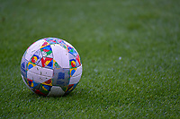 UEFA Nations League match ball pictured before a soccer game between the national teams Under17 Youth teams of Belgium and Luxemburg in the Qualifying round in group 3 on wednesday 6 th of October 2020  in Tubize , Belgium . PHOTO SPORTPIX | STIJN AUDOOREN
