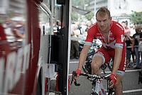 Alexander Kristoff (NOR/Katusha) warming up before stage 10: Escaldes-Engordany (AND) - Revel (FR)<br /> <br /> 103rd Tour de France 2016