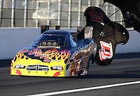 Feb 12, 2016; Pomona, CA, USA; NHRA funny car driver Jim Campbell during qualifying for the Winternationals at Auto Club Raceway at Pomona. Mandatory Credit: Mark J. Rebilas-USA TODAY Sports