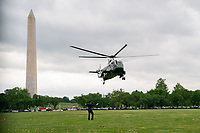 Marine One, carrying U.S. President Joe Biden and First Lady Jill Biden, arrives  to the White House Ellipse after a visit to Virginia, in Washington, D.C., U.S., on Monday, May 3, 2021. Biden's $4 trillion vision of remaking the federal government's role in the U.S. economy is now in the hands of Congress, where both parties see a higher chance of at least some compromise than for the administration's pandemic-relief bill. <br /> CAP/MPI/RS<br /> ©RS/MPI/Capital Pictures