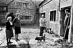 Upper Slaughter Gloucestershire 1970s UK.<br /> (Left to Right) Mrs Lepage,Mrs Harvey, Mr Harvey and Brian Harvey The mother, father and brother of Trevor Harvey who supplied the name and other details in this gallery.