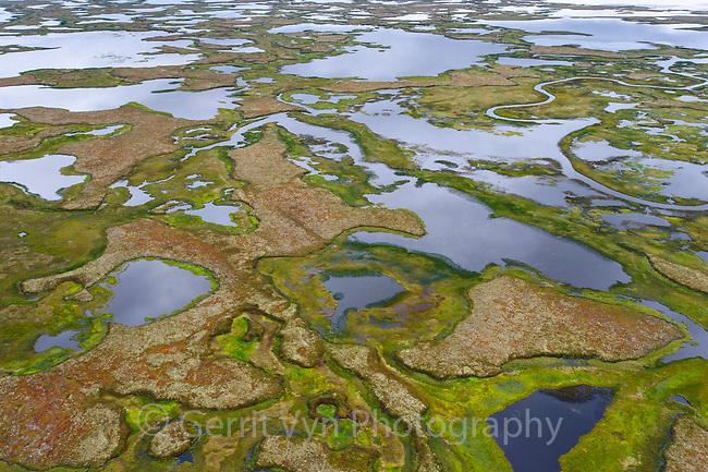 Yukon Delta tundra wetland aerial in fall. Alaska. September.