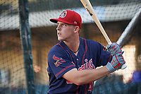 Peoria Chiefs third baseman Nolan Gorman (4) takes batting practice before a game against the Bowling Green Hot Rods on September 15, 2018 at Bowling Green Ballpark in Bowling Green, Kentucky.  Bowling Green defeated Peoria 6-1.  (Mike Janes/Four Seam Images)