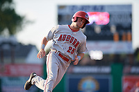 Auburn Doubledays Jake Alu (25) running the bases during a NY-Penn League game against the Batavia Muckdogs on June 19, 2019 at Dwyer Stadium in Batavia, New York.  Auburn defeated Batavia 5-0 in the second game of a doubleheader.  (Mike Janes/Four Seam Images)