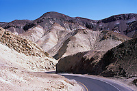Death Valley National Park, California, CA, USA - Artist's Drive Road winding through the Black Mountains (Amargosa Range) near Artist's Palette