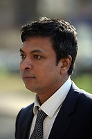 """COPY BY TOM BEDFORD<br />Pictured: Kamrul Islam arrives at Merthyr Magistrates Court, Wales, UK. Monday 03 April 2017<br />Re: Chef Kamrul Islam who attacked a client with chilli powder is due to appear before Merthyr Tydfil Magistrates Court.<br />David Evans was at the Prince of Bengal restaurant on Saturday night when the incident took place.<br />The 46-year-old was out for dinner with his wife Michelle when they were asked by a waiter if they were enjoying their curry.<br />The couple said they told the waiter their meal was """"tough and rubbery"""" and he passed the complaint onto the head chef.<br />Michelle said chilli powder was then thrown into her husband's eyes and he was taken to hospital."""