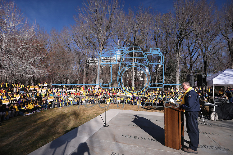 """Several hundred people attend a """"Nevada Supports School Choice"""" rally in support of educational choices on the Capitol grounds in Carson City, Nev., on Wednesday, Jan. 28, 2015.<br /> Photo by Cathleen Allison"""