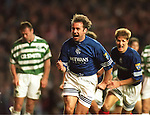 Ally McCoist celebrates scoring against Celtic in Old Firm match at Ibrox, November 1995