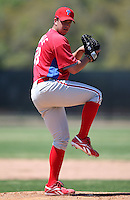 March 30, 2010:  Pitcher Kevin Angelle of the Philadelphia Phillies organization during Spring Training at the Carpenter Complex in Clearwater, FL.  Photo By Mike Janes/Four Seam Images