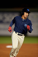 Mobile BayBears Jahmai Jones (15) rounds the bases after hitting a home runduring a Southern League game against the Jacksonville Jumbo Shrimp on May 7, 2019 at Hank Aaron Stadium in Mobile, Alabama.  Mobile defeated Jacksonville 2-0.  (Mike Janes/Four Seam Images)
