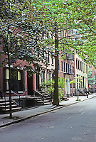 New York: Brooklyn Heights--Nos. 43-57 Willow St., between Cranberry and Orange Sts.  No. 54 is infill, 1987; No. 57, end, is circa 1824. Photo '91.