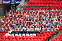 Cardboard spectators during the Sky Bet League 2 PLAY-OFF Final match between Exeter City and Northampton Town at Wembley Stadium, London, England on 29 June 2020. Photo by Andy Rowland.