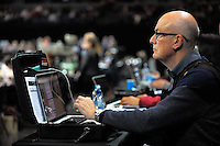 Photographer David Rowland at work during the Quad Series netball match between the New Zealand Silver Ferns and England Roses at Vector Arena, Auckland, New Zealand on Saturday, 27 August 2016. Photo: Dave Lintott / lintottphoto.co.nz