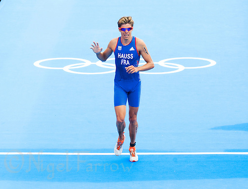 07 AUG 2012 - LONDON, GBR - David Hauss (FRA) of France takes fourth place in the men's London 2012 Olympic Games Triathlon in Hyde Park in London, Great Britain .(PHOTO (C) 2012 NIGEL FARROW)