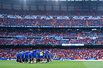 Spain squad huddle prior to their 2018 FIFA World Cup Russia Final Qualification Round 1 Group G match between Spain and Italy on 02 September 2017, at Santiago Bernabeu Stadium, in Madrid, Spain. Photo by Diego Gonzalez / Power Sport Images
