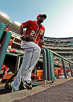 9 July 2011: Washington Nationals outfielder Roger Bernadina takes to the field for a game against the Colorado Rockies at Nationals Park in Washington, District of Columbia. The Nationals were edged out by the Rockies 2-1, dropping the second game of their 3-game series. Mandatory Credit: Ed Wolfstein Photo