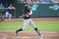 Great Falls Voyagers third baseman Bryce Bush (8) swings at a pitch during a Pioneer League against the Ogden Raptors at Lindquist Field on August 23, 2018 in Ogden, Utah. The Ogden Raptors defeated the Great Falls Voyagers by a score of 8-7. (Zachary Lucy/Four Seam Images)