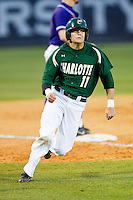 Matt Creech (11) of the Charlotte 49ers rounds third base against the High Point Panthers at Willard Stadium on February 20, 2013 in High Point, North Carolina.  The 49ers defeated the Panthers 12-3.  (Brian Westerholt/Four Seam Images)