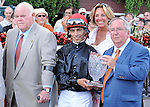 Point of Entry (no. 2), ridden by John Velazquez and trained by Claude McGaughey III, wins the 38th running of the grade 1 Sword Dancer Invitational Stakes for three year olds and upward on August 18, 2012 at Saratoga Race Track in Saratoga Springs, New York.  (Bob Mayberger/Eclipse Sportswire)