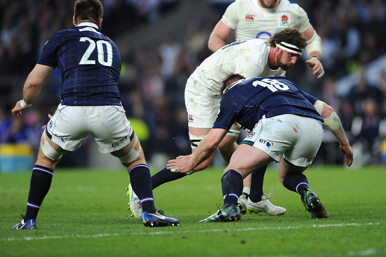 Tom Wood of England is tackled by Simon Berghan of Scotland during the RBS 6 Nations match between England and Scotland at Twickenham Stadium on Saturday 11th March 2017 (Photo by Rob Munro/Stewart Communications)