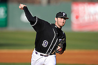 Photo of the Furman University Paladins in a game against the Toledo Rockets on Sunday, February 16, 2013, at Fluor Field at the West End in Greenville, South Carolina. The game was part of the First Pitch Invitational. (Tom Priddy/Four Seam Images)