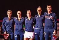 Den Bosch, The Netherlands, Februari 9, 2019,  Maaspoort , FedCup  Netherlands - Canada, Presentation, Dutch team<br /> Photo: Tennisimages/Henk Koster