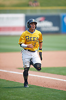 Kean Wong (2) of the Salt Lake Bees hustles to home plate against the Las Vegas Aviators at Smith's Ballpark on July 25, 2021 in Salt Lake City, Utah. The Aviators defeated the Bees 10-6. (Stephen Smith/Four Seam Images)