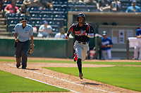 Lake Elsinore Storm Edward Olivares (11) hustles down the first base line against the Rancho Cucamonga Quakes at LoanMart Field on May 28, 2018 in Rancho Cucamonga, California. The Storm defeated the Quakes 8-5.  (Donn Parris/Four Seam Images)