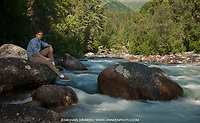 Colony High School Senior Ryan Glenn on the LIttle Su river and at Hatcher Pass for his senior photo session.