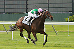 05 22 2010: Treat Gently (GB) & Kent Desormeaux win the 52nd running of the Grade 2 Sheepshead Bay Stakes, 1/ 3/8 mile for F&M 3 year old and up on the inner turf. Trainer Bill Mott.  Owner Juddmonte Farms