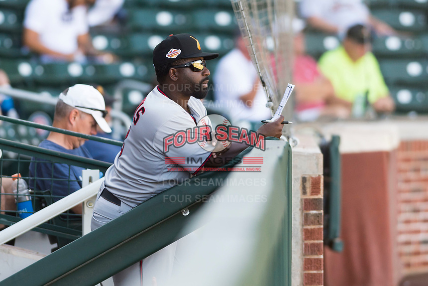Salt River Rafters manager Tommy Watkins (8), of the Minnesota Twins organization, during an Arizona Fall League game against the Mesa Solar Sox at Sloan Park on October 30, 2018 in Mesa, Arizona. Salt River defeated Mesa 14-4 . (Zachary Lucy/Four Seam Images)