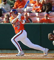 Jason Stolz (2) hits during a game between the Charlotte 49ers and Clemson Tigers Feb. 20, 2009, at Doug Kingsmore Stadium in Clemson, S.C. (Photo by: Tom Priddy/Four Seam Images)