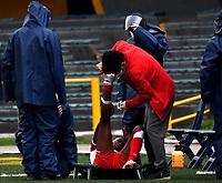 BOGOTA - COLOMBIA, 28-11-2020: Independiente Santa Fe y Atletico Junior durante partido de los Cuartos de Final Vuelta por la Liga Femenina BetPlay DIMAYOR 2020 jugado en el estadio Nemesio Camacho El Campin en la ciudad de Bogota. / Independiente Santa Fe and Atletico Junior during a match of the Quarterfinal second Leg for the Women's League BetPlay DIMAYOR 2020 played at the Nemesio Camacho El Campin stadium in Bogota city. / Photo: VizzorImage / Luis Ramirez / Staff.