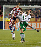 Carli Lloyd heads the ball in the second half. USWNT played played a friendly against Ireland at JELD-WEN Field in Portland, Oregon on November 28, 2012.