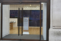 View of the Microsoft Store on Oxford Street. The deserted streets show the severe effects of the COVID-19 epidemic on London on the morning of 19th March 2020