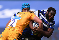 31st August 2020; Recreation Ground, Bath, Somerset, England; English Premiership Rugby, Beno Obano of Bath brings the ball forward and is tackled by Tommy Taylor of Wasps