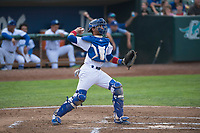 Ogden Raptors catcher Ramon Rodriguez (3) throws to second base during a Pioneer League game against the Great Falls Voyagers at Lindquist Field on August 23, 2018 in Ogden, Utah. The Ogden Raptors defeated the Great Falls Voyagers by a score of 8-7. (Zachary Lucy/Four Seam Images)