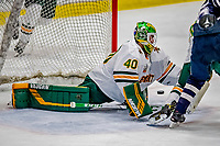 9 February 2019: University of Vermont Catamount Goaltender Stefanos Lekkas, a Junior from Elburn, IL, in third period action against the University of New Hampshire Wildcats at Gutterson Fieldhouse in Burlington, Vermont. The Catamounts defeated the Wildcats 4-1 to split their 2-game Hockey East weekend series. Mandatory Credit: Ed Wolfstein Photo *** RAW (NEF) Image File Available ***